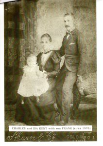 Charles Kent and his wife, Ida (nee De Vos) with their son, Charles (Frank) abt 1896