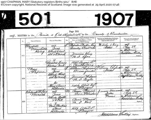 Mary (Maimee) Chapman birth certificate